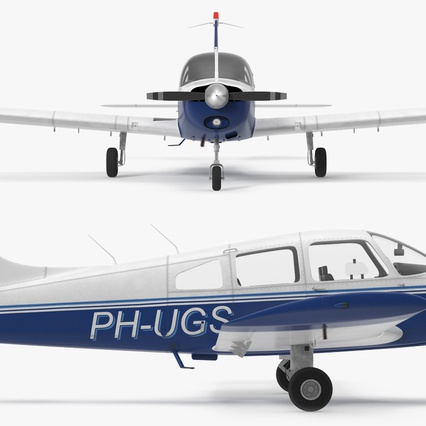 Piper PA-28-161 Cherokee Rigged. Render 16