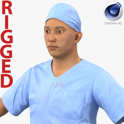 Male Surgeon Asian Rigged with Blood 2 for Cinema 4D. Render 1