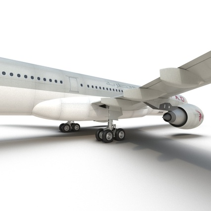 Jet Airliner Airbus A330-300 Qatar Rigged. Render 43