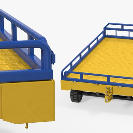 Airport Transport Trailer Low Bed Platform with Container Rigged. Render 20
