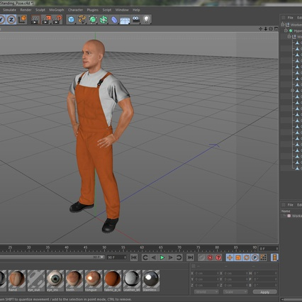 Worker In Orange Overalls Standing Pose. Render 21