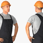 Construction Worker Black Uniform with Hardhat Standing. Preview 7