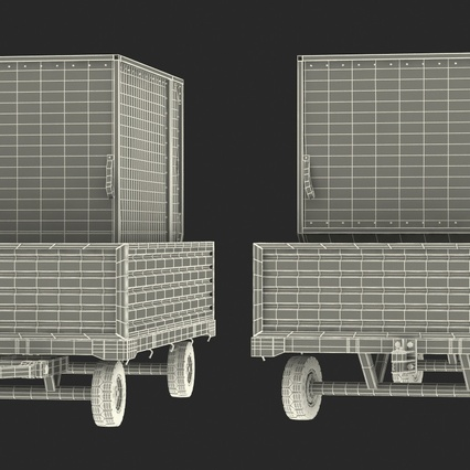 Airport Luggage Trolley with Container. Render 22