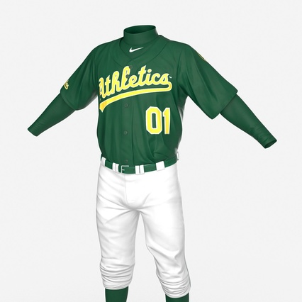 Baseball Player Outfit Athletics 3. Render 15