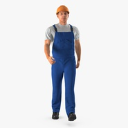 Construction Worker Blue Uniform with Hardhat Walking Pose