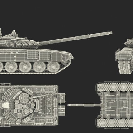 T72 Main Battle Tank Camo Rigged. Render 25