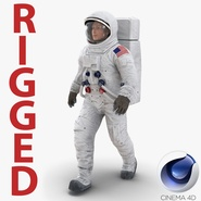 Astronaut NASA Wearing Spacesuit A7L Rigged for Cinema 4D