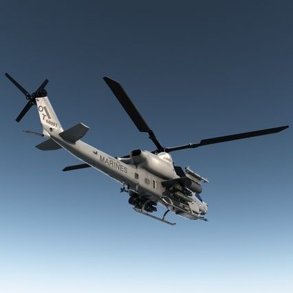 Attack Helicopter Bell AH 1Z Viper Rigged. Render 10