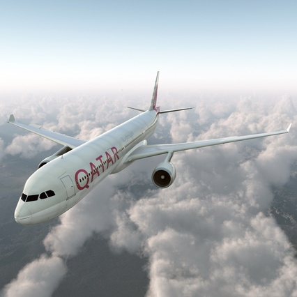 Jet Airliner Airbus A330-300 Qatar Rigged. Render 11