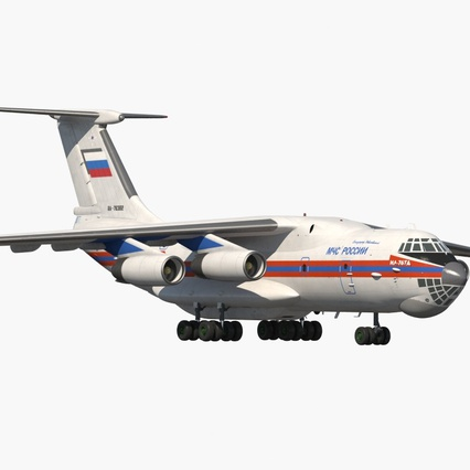 Ilyushin Il-76 Emergency Russian Air Force Rigged. Render 3