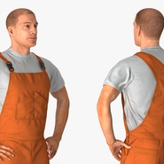 Factory Worker Orange Overalls Standing Pose. Preview 9