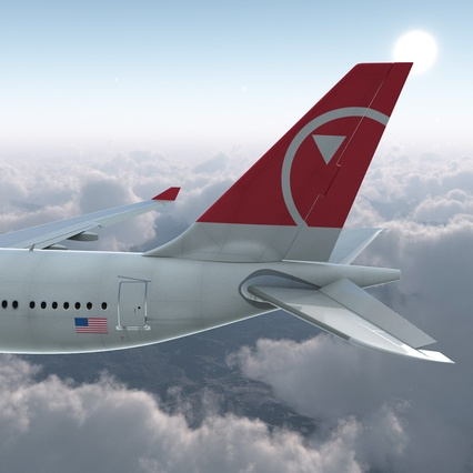 Jet Airliner Airbus A330-200 Northwest Airlines Rigged. Render 15