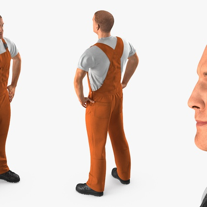 Worker In Orange Overalls Standing Pose. Render 6