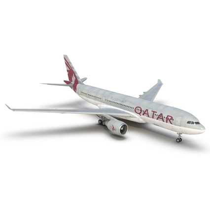 Jet Airliner Airbus A330-200 Qatar. Render 19