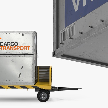Airport Luggage Trolley with Container Rigged. Render 11