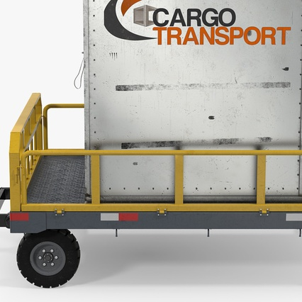 Airport Luggage Trolley Baggage Trailer with Container. Render 9