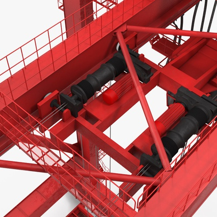 Port Container Crane Red with Container. Render 30