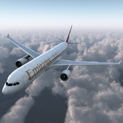 Jet Airliner Airbus A330-300 Emirates Rigged. Render 2