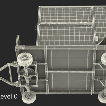 Airport Luggage Trolley with Container Rigged. Render 26