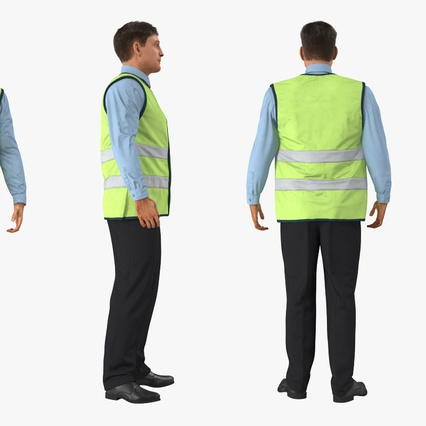 Construction Architect in Yellow Safety Jacket Standing Pose. Render 5