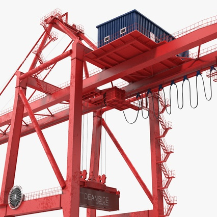 Port Container Crane Red with Container. Render 14