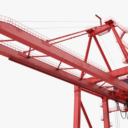 Port Container Crane Red with Container. Render 16