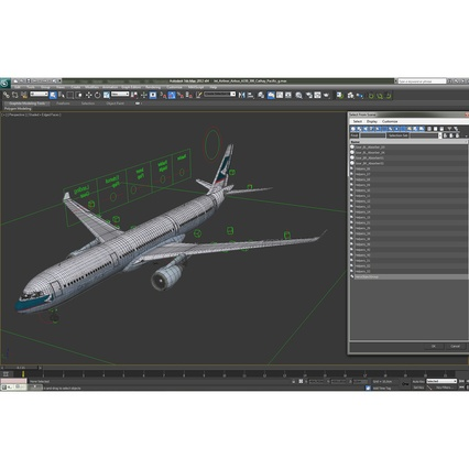 Jet Airliner Airbus A330-300 Cathay Pacific Rigged. Render 46