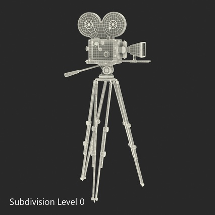 Vintage Video Camera and Tripod. Render 28