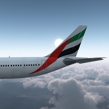 Jet Airliner Airbus A330-300 Emirates Rigged. Render 16