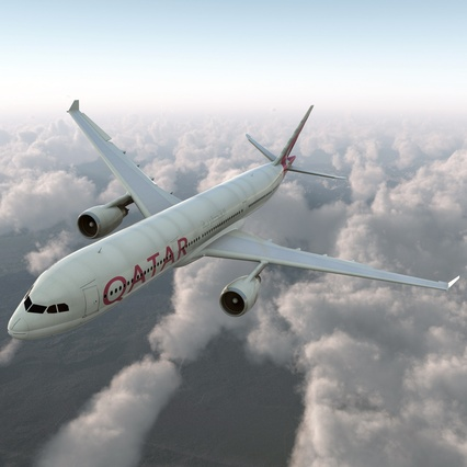 Jet Airliner Airbus A330-300 Qatar Rigged. Render 2