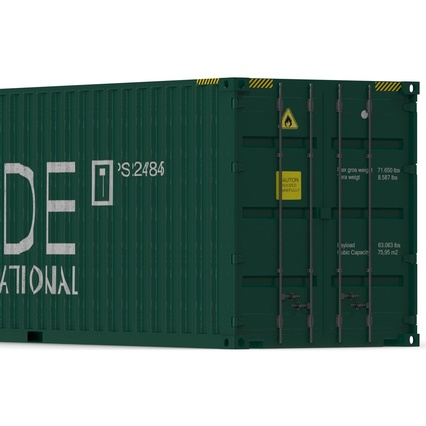 40 ft High Cube Container Green. Render 18