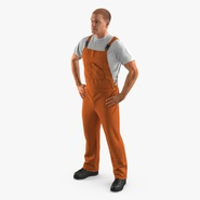 Worker In Orange Overalls Standing Pose. Preview 2