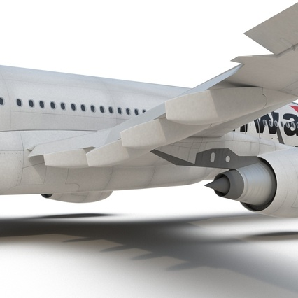 Jet Airliner Airbus A330-200 Northwest Airlines Rigged. Render 48