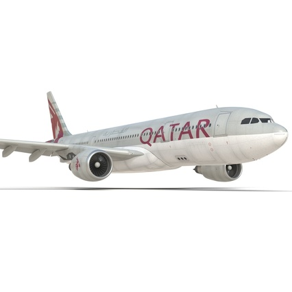 Jet Airliner Airbus A330-200 Qatar. Render 30