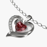 Ruby Heart Necklace and Chain