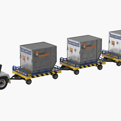 Airport Tug Clark CT30 Carrying Passengers Luggage. Render 3
