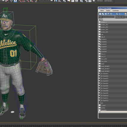 Baseball Player Rigged Athletics for Cinema 4D. Render 25