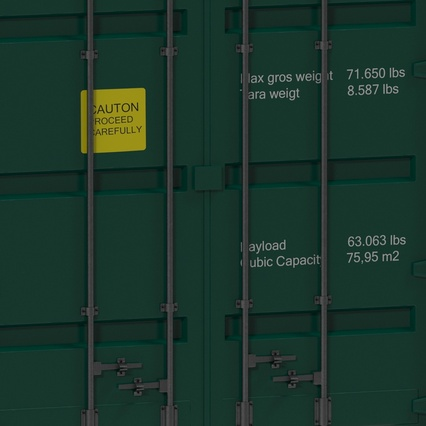 40 ft High Cube Container Green. Render 24