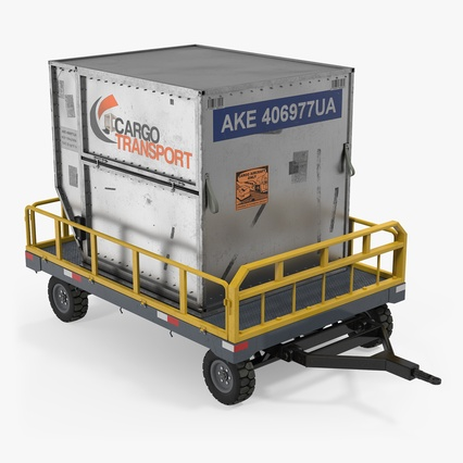 Airport Luggage Trolley Baggage Trailer with Container. Render 1
