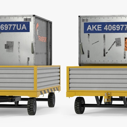Airport Luggage Trolley with Container. Render 6