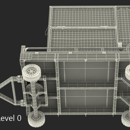 Airport Transport Trailer Low Bed Platform with Container Rigged. Render 27