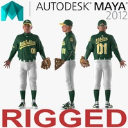 Baseball Player Rigged Athletics for Maya