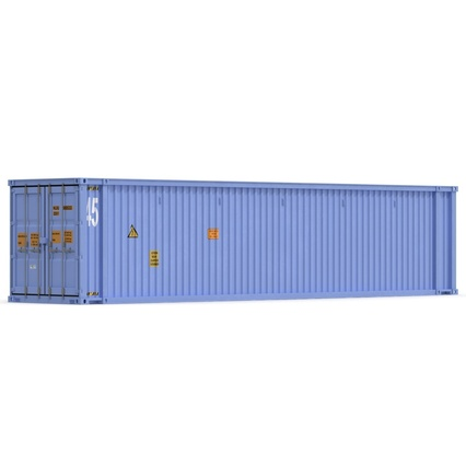 45 ft High Cube Container Blue. Render 10