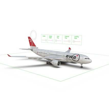 Jet Airliner Airbus A330-200 Northwest Airlines Rigged. Render 5