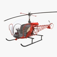 Light Helicopter Bell 47 Red Rigged