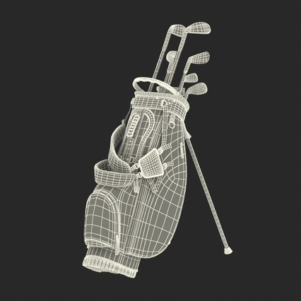 Golf Bag Seahawks with Clubs. Render 25