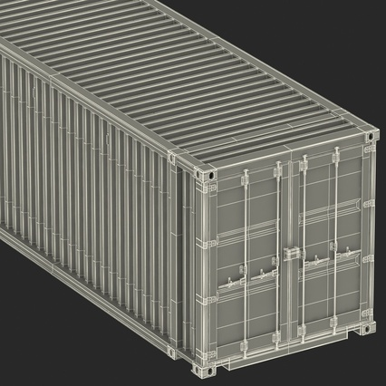 45 ft High Cube Container Blue. Render 46