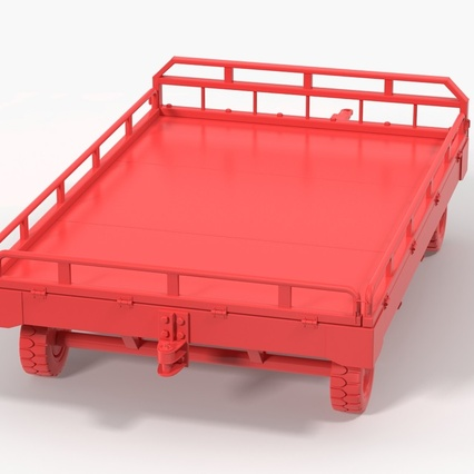 Airport Transport Trailer Low Bed Platform with Container Rigged. Render 24