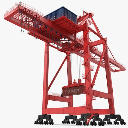 Port Container Crane Red with Container. Render 2