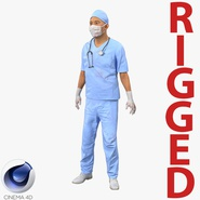 Male Surgeon Asian Rigged with Blood for Cinema 4D